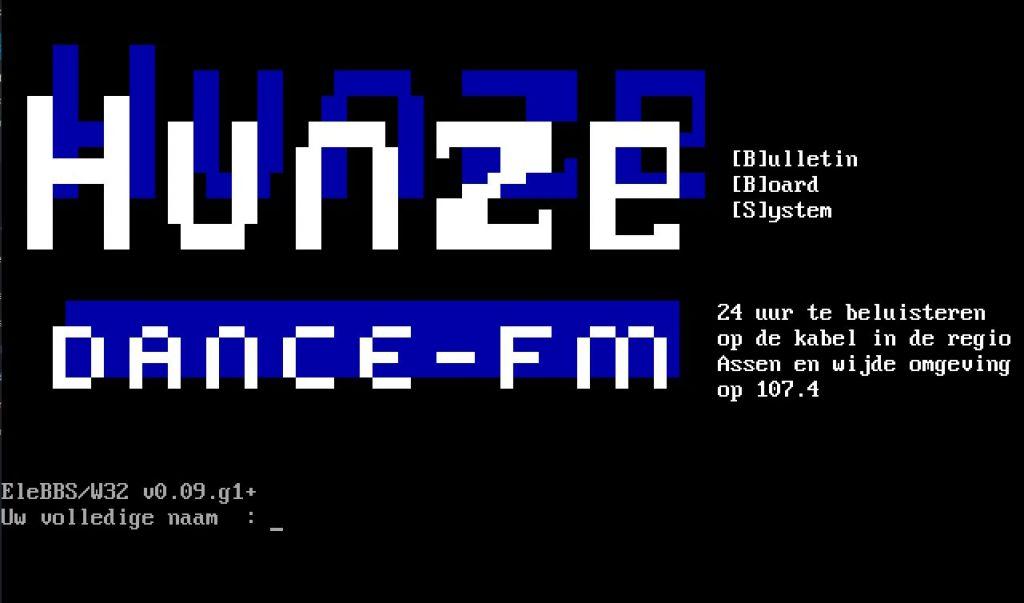 Hunze-BBS, inlogscherm vlak voordat het BBS Stopte